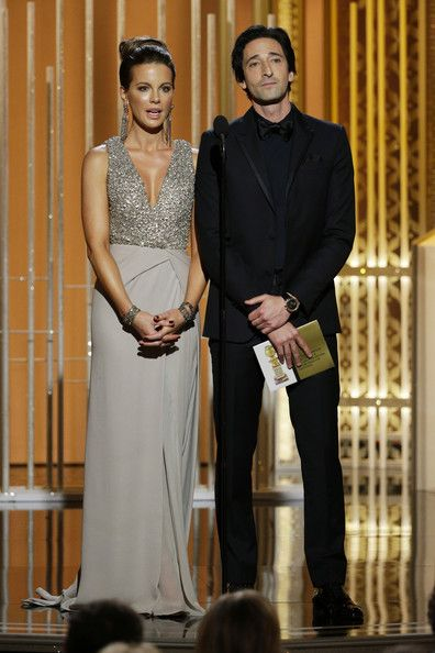 Adrien Brody Photos - In this handout photo provided by NBCUniversal, Presenters Kate Beckinsale and Adrien Brody speak onstage during the 72nd Annual Golden Globe Awards at The Beverly Hilton Hotel on January 11, 2015 in Beverly Hills, California. - 72nd Annual Golden Globe Awards Show