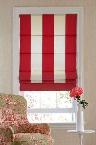 Red & white striped Roman shade - would love to see this in a little boy's room.