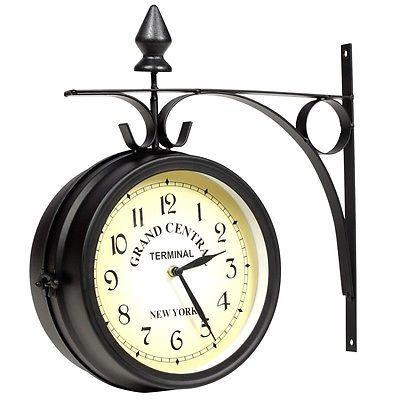 Zweiseitige Wanduhr RETRO Look GRAND CENTRAL Bahnhofsuhr Antik Stil Uhr 30010 in Uhren & Schmuck, Weitere Uhren, Wanduhren | eBay!