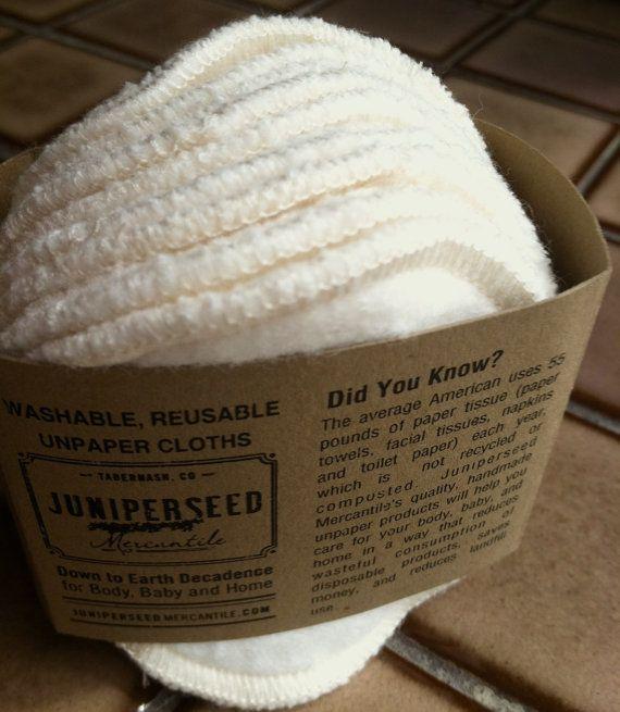 Orgánico sin blanquear algodón Sherpa alternativa pufs Facial desechable - 12 bolsa de lavado de lana redondos más bono