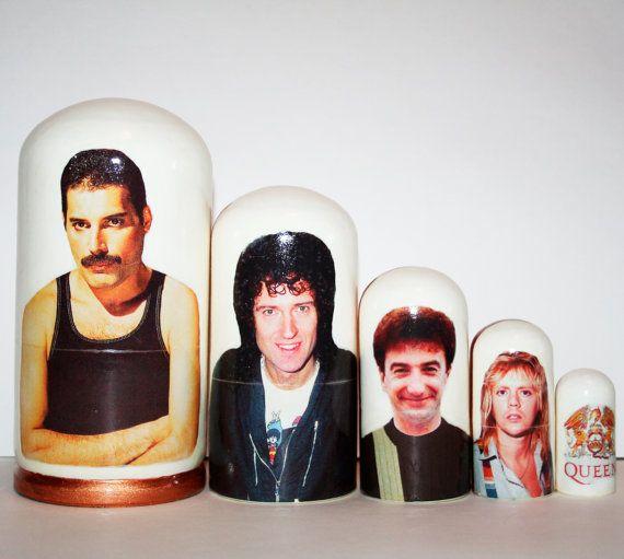 Queen nesting doll Freddie Mercury russian by nestingdollrus