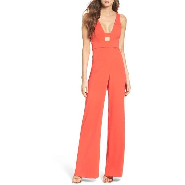 Women's Jay Godfrey Baker Jumpsuit ($495) ❤ liked on Polyvore featuring jumpsuits, coral red, jay godfrey jumpsuit, coral jumpsuit, red jumpsuit, jay godfrey and red cut out jumpsuit