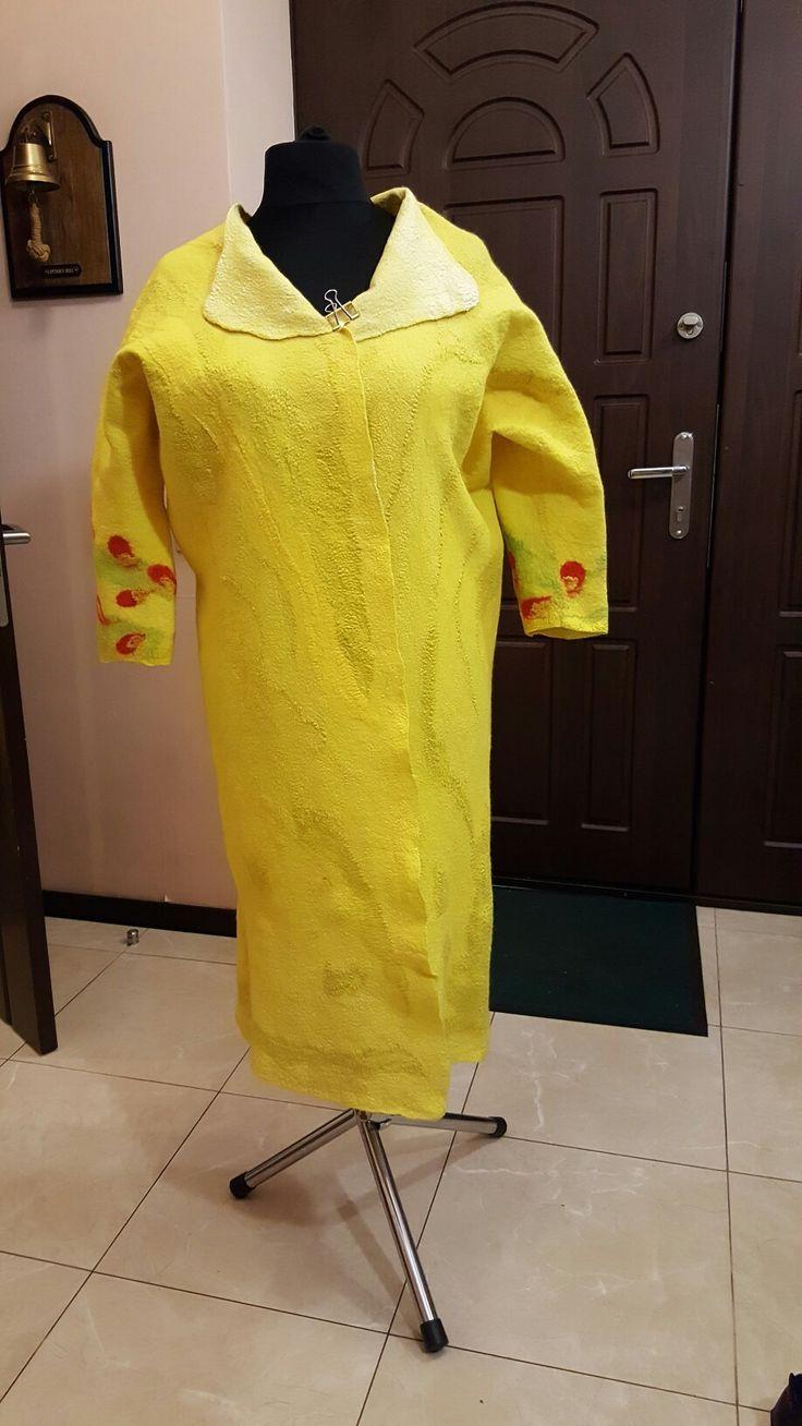 Пальто выполненно в технике тонкий войлок из шерсти мериноса 18 мк