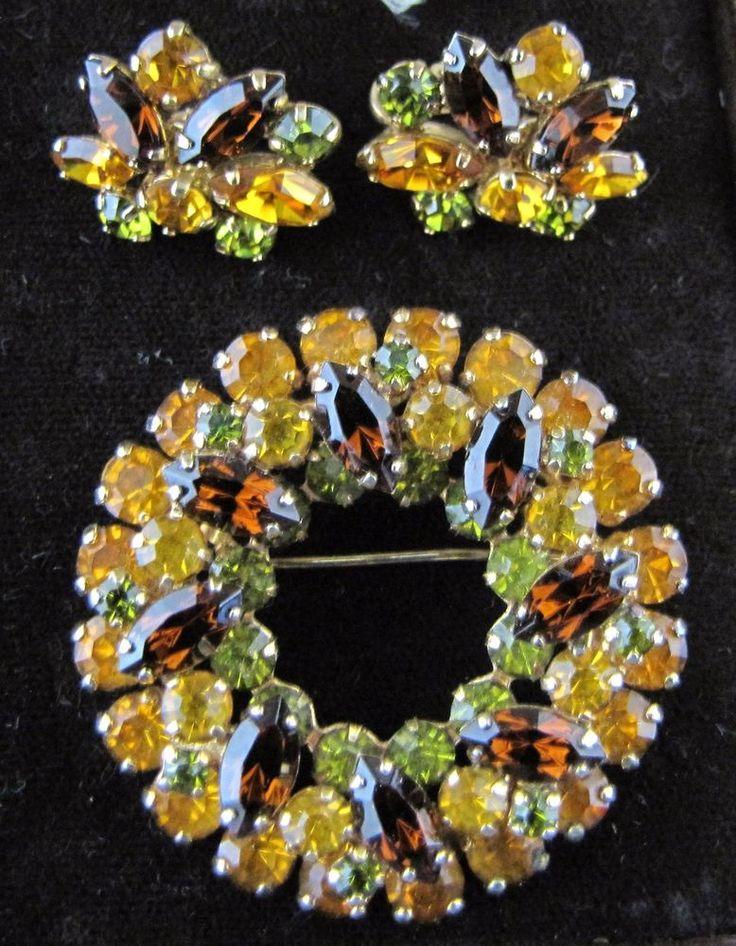Vintage rhinestone Sherman Brooch & earrings orange green & amber   Jewellery & Watches, Vintage & Antique Jewellery, Costume   eBay!