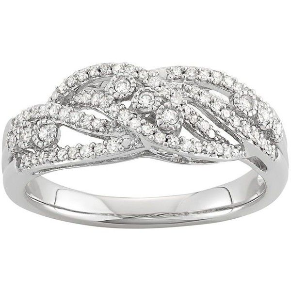 Simply Vera Vera Wang 1/4 Carat T.W. Diamond Sterling Silver Multirow... ($270) ❤ liked on Polyvore featuring jewelry, rings, white, bezel ring, sterling silver rings, diamond rings, bezel diamond ring and white diamond ring