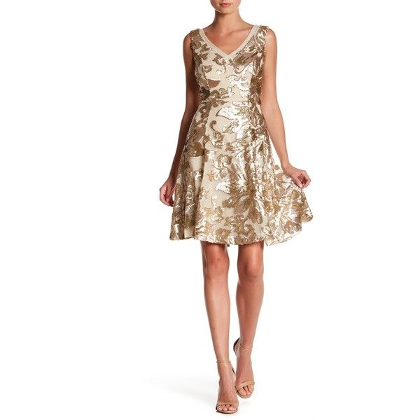 Marina Floral Sequin A-Line Dress ($80) ❤ liked on Polyvore featuring dresses, gold, a line dress, white sleeveless dress, sleeveless a line dress, white sequin dress and v neck dress