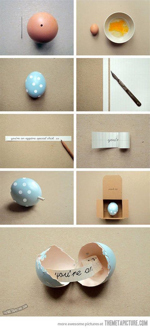 Mensaje en un huevo. Adorable!!