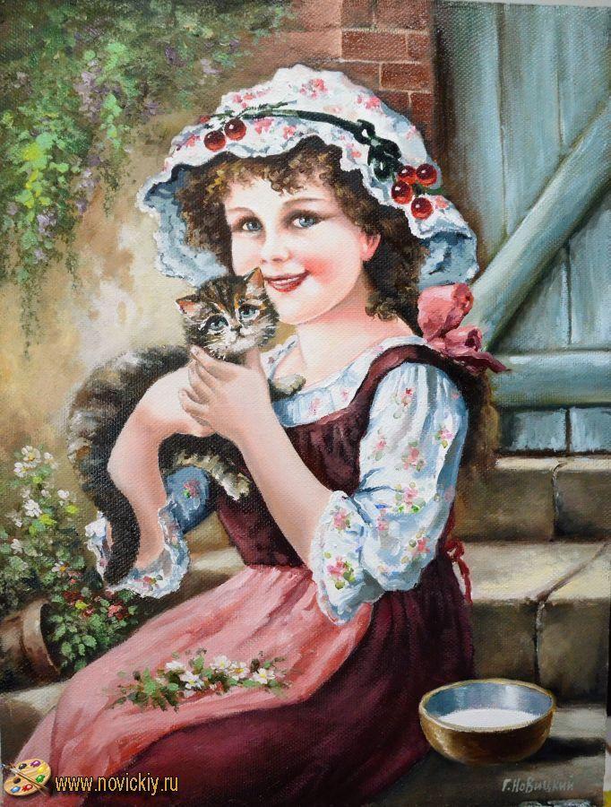Девочка с котёнком - Жанр - Галерея - Картины для интерьера