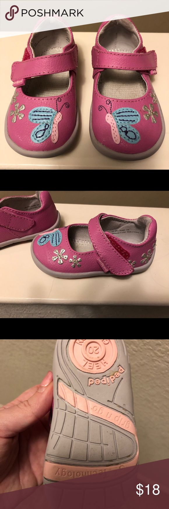 Pediped darling pink butterfly Mary Janes Pediped size 20 darling pink butterfly Mary Janes in excellent used condition. My daughter loved these but grew out of them too quickly (Mama should have bought a size bigger). I have the box for these as well. pediped Shoes Baby & Walker