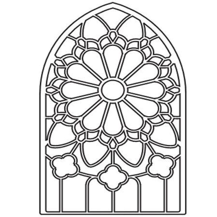 poppystamps die by memory box grand gothic stained glass window
