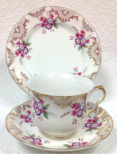 English Vintage China Tea Set Tea Cup Trio Pink Florals Gilded.