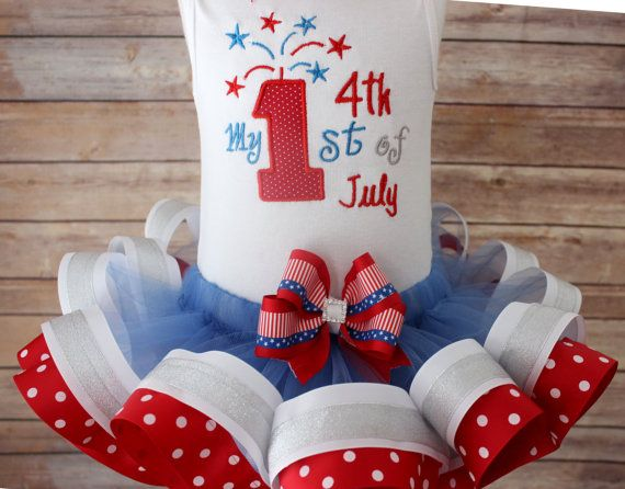 My First 4th of July Ribbon Tutu Outfit With Matching Hair Bow