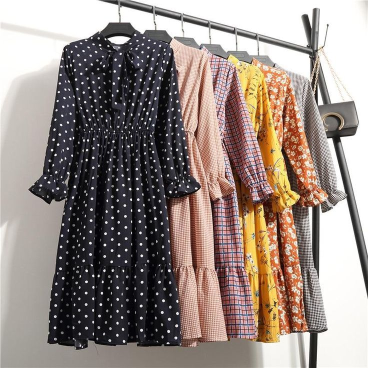 NIJIUDING Summer Autumn Chiffon Print Dress Casual Cute Women floral Long Bowkno…