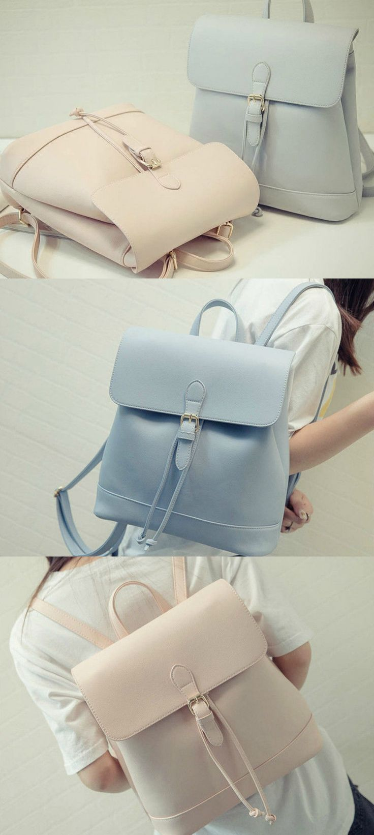 Hase Babe - Drawstring Faux Leather Backpack US$27.98