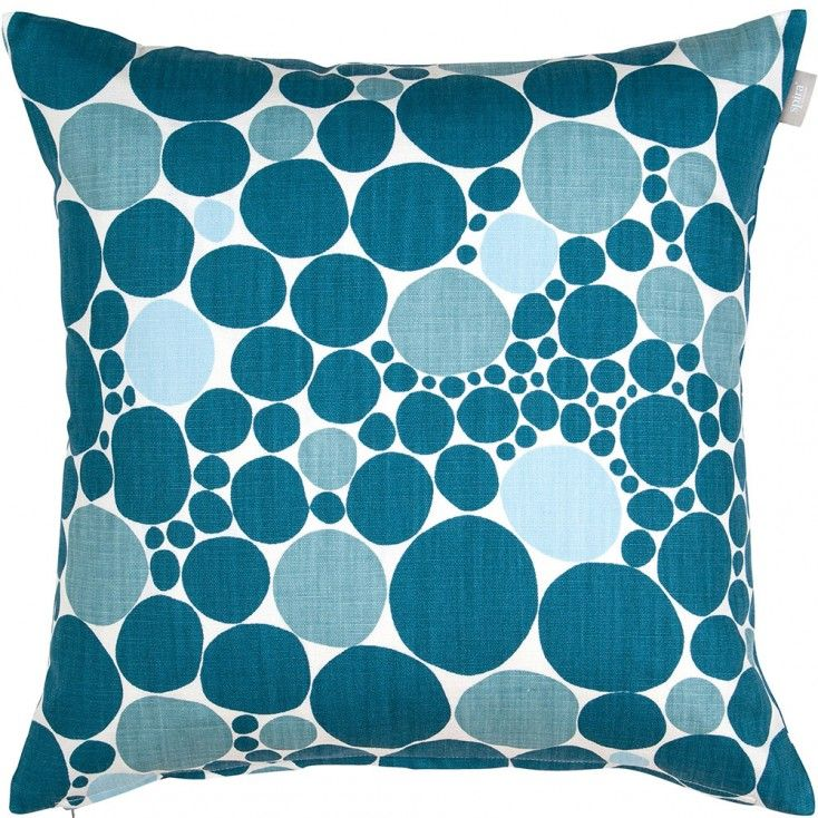 "Spira Bubbla Blue Cushion Cover from Hus & Hem.   ""We're forever plumping cushions, pretty cushions on a chair"" - Spira of Sweden's blue Bubbla cushion will add a pop of Nordic pattern to any home.  Mix and match the ink, petrol and pale blue Bubbla with Spira's complimentary Dotte and Maskros cushions to create a colour happy Scandinavian home."
