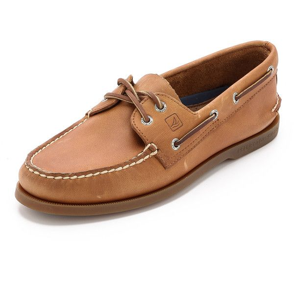 Sperry A/O Classic Boat Shoes on Brown Sole ($96) ❤ liked on Polyvore featuring men's fashion, men's shoes, men's loafers, sahara, mens leather shoes, mens boat shoes, sperry mens shoes, mens leather boat shoes and mens deck shoes