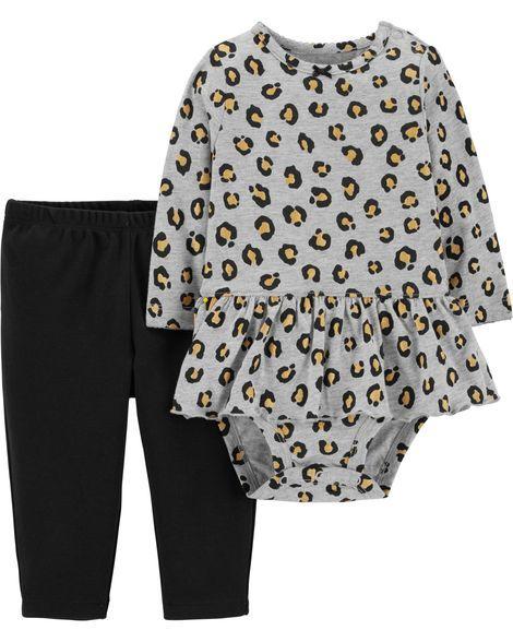 2 Piece Leopard Peplum Bodysuit Pant Set Baby Clothes Carters