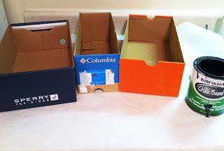 Simple  Chic Designs : diy:chalkboard paint shoe box storage!