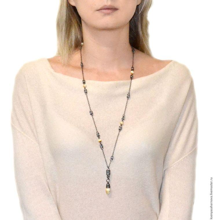 Купить Колье цепь длинное с янтарем Талисман (балтийский янтарь, серебро 925)