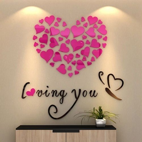 3D Wall Art Crystal Love Heart Wall Stickers Great Gift