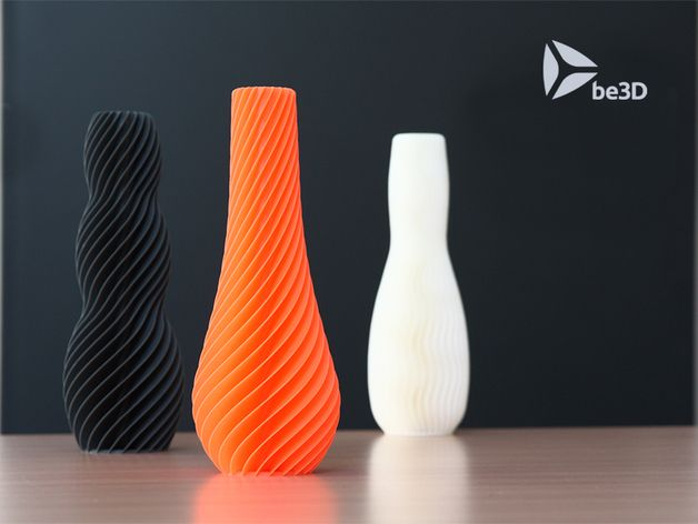 SPIRAL vases are optimized for fast 3D printing, they can be printed in 3:30 h (20 cm tall). Wall thickness is 0,7 mm and so it is best printed with 0,35 mm nozzle or 0,35 extrusion diameter.   Designed by Martin Žampach for be3D (http://martin.zampach.com/) printed on DeeRed printer. Martin is author of previous WAVE vases too: http://www.thingiverse.com/thing:390713