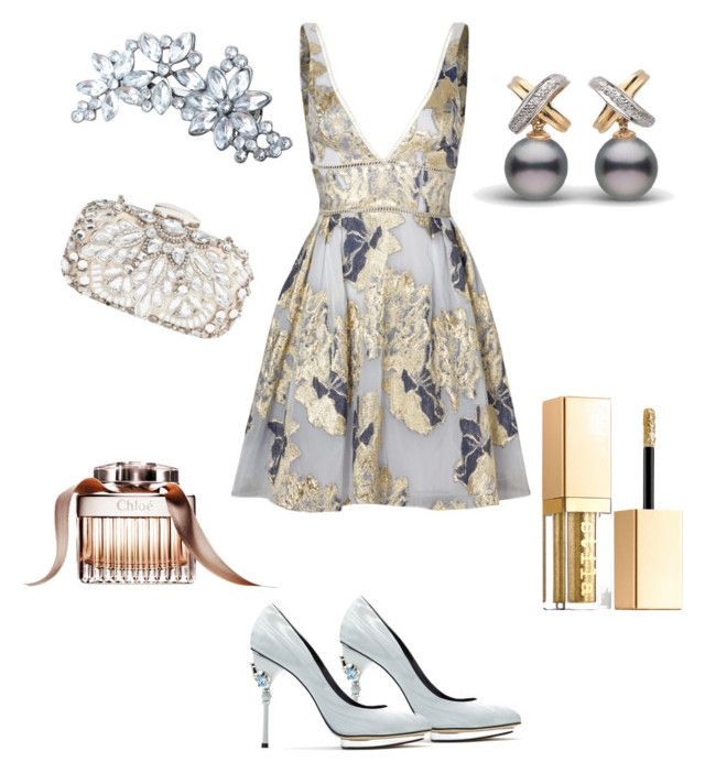 """#silver # gold"" by sanikova on Polyvore featuring Notte by Marchesa, Natasha Couture, Oscar de la Renta and Stila"