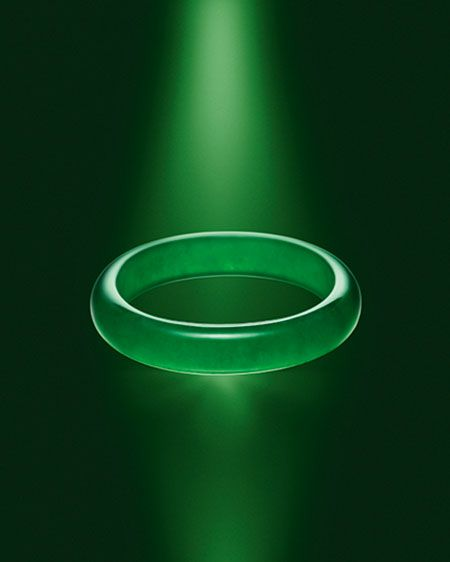 """Perfect jadeite bangle. From Sotheby's auction site: """"The jade bangle, a spectacular example of which will appear in the Hong Kong sale, is immaculately carved from one piece of jadeite, and signifies eternity, unity and protection. It is one of the most potent and auspicious objects in Chinese culture."""""""