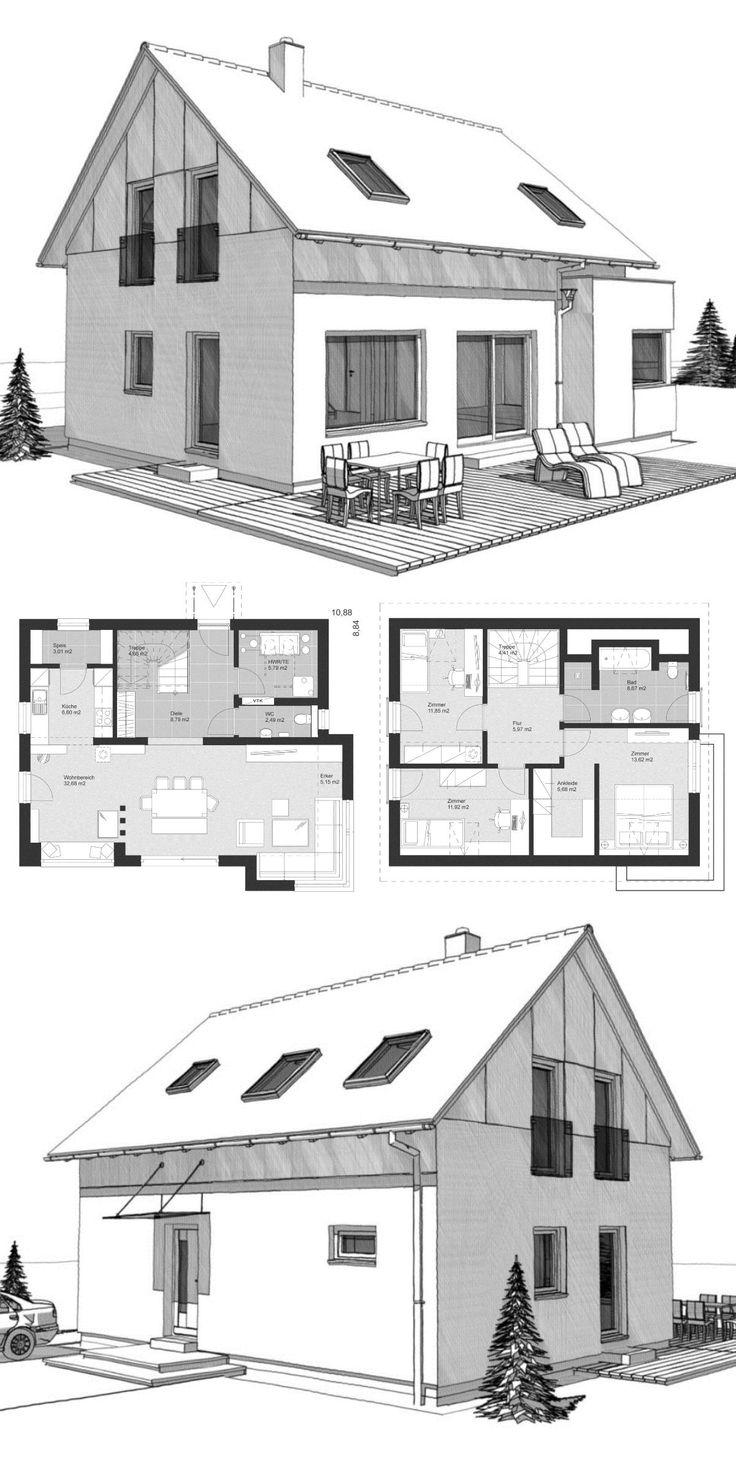 Klassisches Einfamilienhaus Neubau mit Satteldach, Holzfassade & 4 Zimmer Grundriss – Fertighaus bauen Ideen Architektur Zeichnung ELK Haus 130 – Haus…