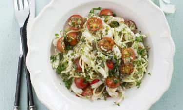 Spaghetti gamberetto med chili och persilja