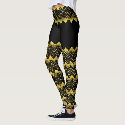Black & Gold Chevron faux Glitter Composition Leggings - glitter gifts personalize gift ideas unique