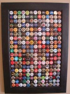 Bottle Cap Wall Art (AKA A Year in Beer). Always wanted to make a table with battle caps, this might be a good alternative :)