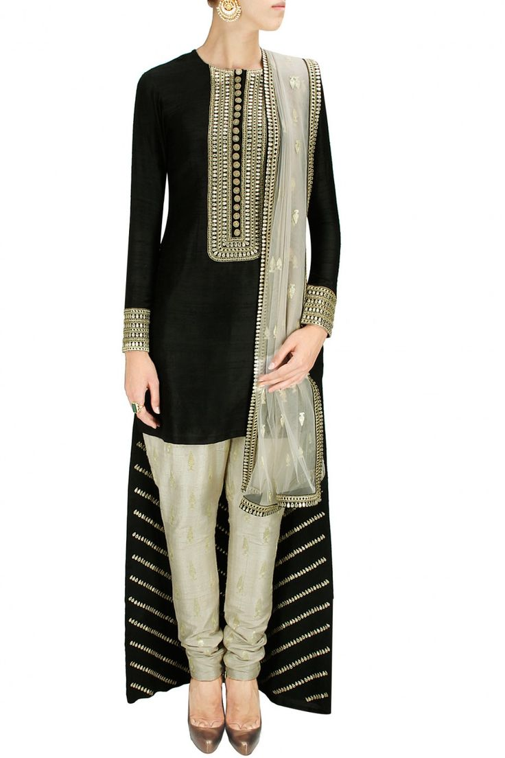 Black high-low kurta with stone embroidered pants and dupatta - Payal Singhal