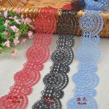 Gratis verzending 12 Meters/partij Rose rood/zwart/hemelsblauw borduren kant holle-out ronde kant trim lace accessoires 4 cm breed SC905(China)