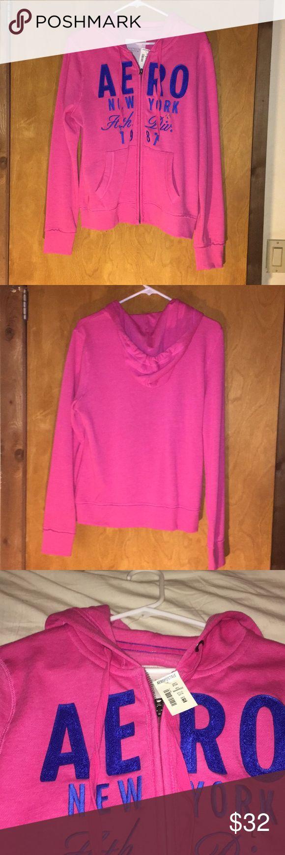 Aeropostale hoodie Aeropostale hot pink and blue zip up hoody, Size Large NWT Aeropostale Tops Sweatshirts & Hoodies