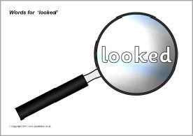 Words for 'looked' on magnifying glasses (SB6201) - SparkleBox