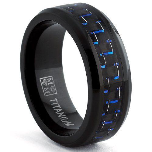 Black Titanium Wedding Band Ring with Black and Blue Carbon Fiber inlay, Comfort fit 8mm, Sizes 7 to 13, http://www.amazon.com/dp/B00HWG3UX4/ref=cm_sw_r_pi_awdm_94c7sb036ESP7