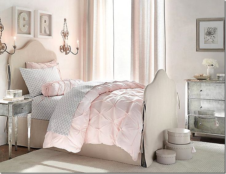 A Little Girls Bedroom Pink Grey Reinette Iron Bed Ava Collection