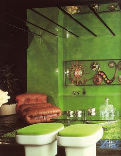 Best Green Interior by Australian decorator Marion Hall, early 1970sAustralian Decor, Green Interiors, Interiors Design, Living Room, 1970S Decor, Marion Hall, Ears 1970S, Leather Chairs, Bedrooms Wall
