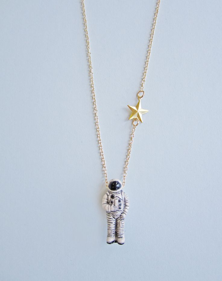 I Just Need Some Space, Man Astronaut Necklace — Eclectic Eccentricity Vintage Jewellery
