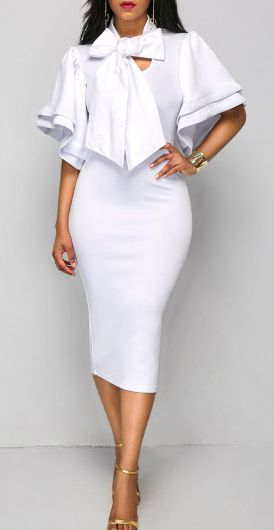 White Flare Sleeve Bow Front Fitted Midi Dress