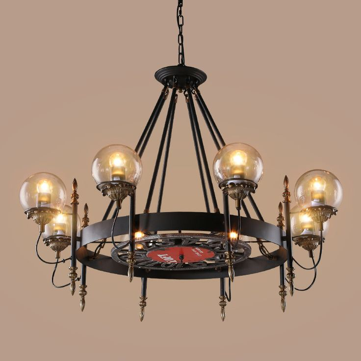 Kensington Collection Wrought Iron Glass Shade Pendant Industrial Light
