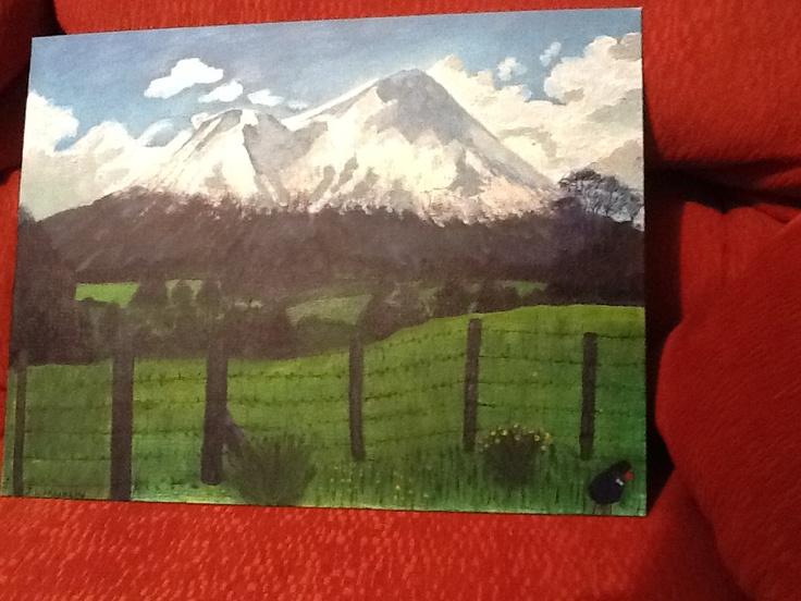 Mt Egmont New Zealand painted by Jen Franklin 2012