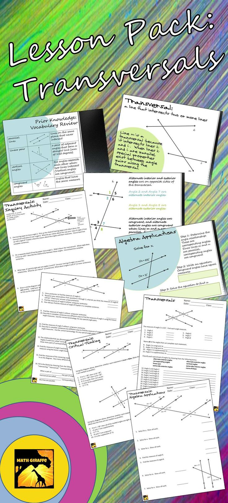 Full lesson pack: inquiry-based introduction activity, presentation, printables, and algebra applications included (corresponding angles, alternate interior and exterior angles, etc.)