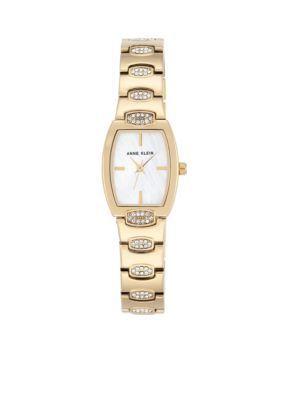 Anne Klein Gold Gold-Tone Crystal Cush Tank Watch
