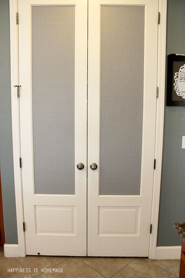 Pantry door makeover with patterned shelf paper cover - Decorative glass interior pantry doors ...