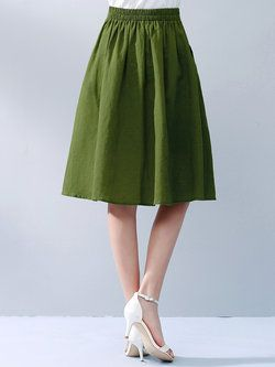Green Ribbed Floral Casual Swing #Midi #Skirt