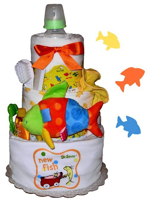 Dr. Seuss one fish, two fish, red fish, new fish baby shower diaper cake