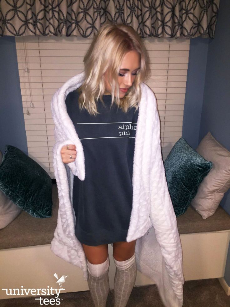 cozy up with a big sweatshirt   Alpha Phi   Made by University Tees   universitytees.com