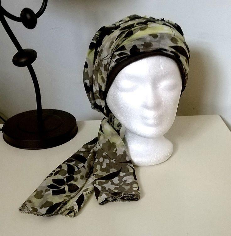 Turban à nouer préformé - Foulard - Bonnet - chapeau - bandeau chimio vert anis chocolat kaki enlacé de jersey marron : Echarpe, foulard, cravate par msg-secret