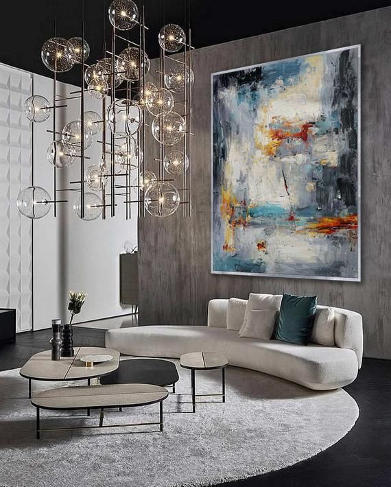 Extra Large Palette Knife Acrylic Painting On Canvas Oversize Etsy Living Room Furniture Inspiration Cozy Living Room Furniture Modern Living Room Art